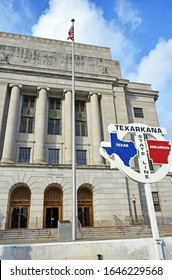 Texarkana Arkansas Texas State line in front of Post Office perspective shot
