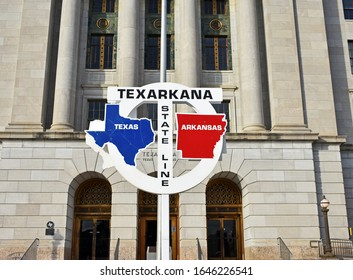 Texarkana Texas and Arkansas State Line in front of Post Office