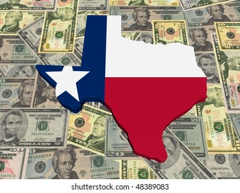 Texas 3d Map flag on American dollars illustration