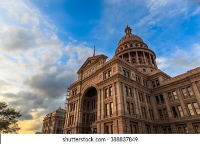 The Texas Capitol Building/ Texas Capital/ The Texas Capitol building at sunset in Austin, Texas.