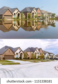 Texas Communities Continue to Rebuild After Hurricane Harvey. Houses in Houston Suburb One Year Later After Devastating Floods Caused by Hurricane Harvey. Concept Before and After Photos.