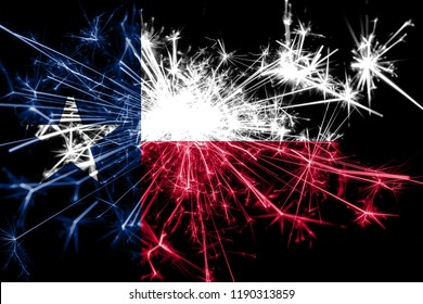 Texas fireworks sparkling flag. New Year 2019 and Christmas party concept