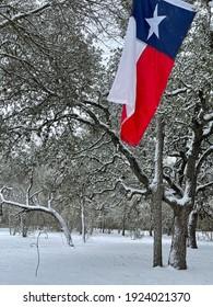 Texas flag against snowy background
