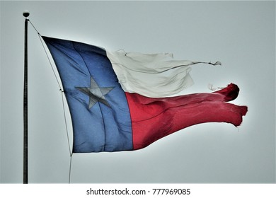 Texas flag during Hurricane Harvey
