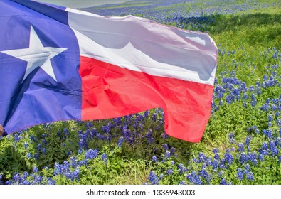 Texas flag flying over a field of bluebonnets