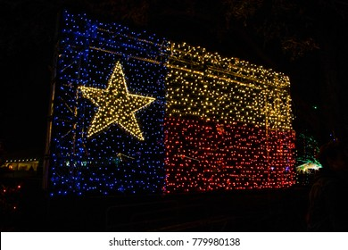 Texas flag illuminated in Christmas lights just in time for the holidays! A large glowing bright Texas State Flag , State pride and honor to the red, white , and blue