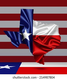 Texas flag map, America flag  and wall background