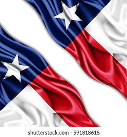 Texas flag of silk with copyspace for your text or images and white background -3D illustration