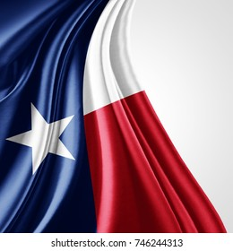 texas flag of silk with copyspace for your text or images and white background-3D illustration