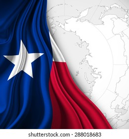 texas  flag of silk with world map and white background