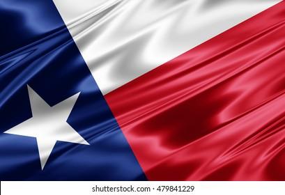 texas  flag of silk-3D illustration
