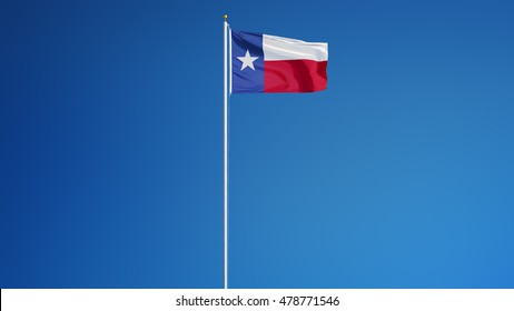 Texas flag waving against clean blue sky, long shot, isolated with clipping path mask alpha channel transparency