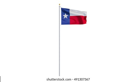 Texas flag waving on white background, long shot, isolated with clipping path mask alpha channel transparency