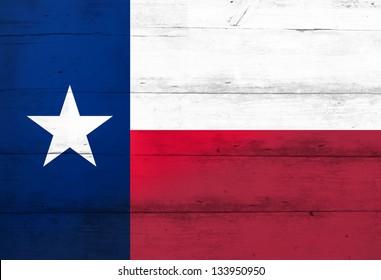 Texas Lone Star Flag on barn wood (aged)
