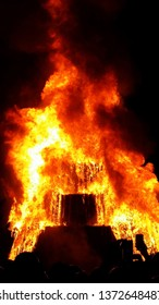 Texas A & M Bonfire Burning