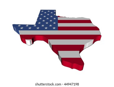 Texas map flag 3d render on white illustration