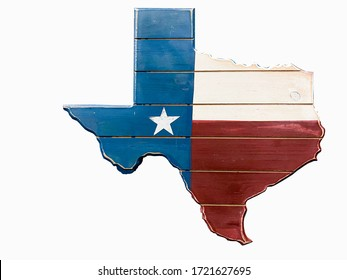 Texas map painted with Texan flag on wooden plank. Lone star stated map isolated on white, vintage looking.
