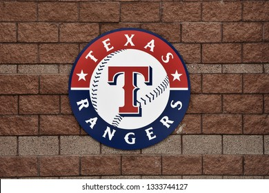 Texas Rangers sign at Surprise Stadium the spring training facility for the Texas Rangers and the Kansas City Royals Surprise Arizona 3/2/19