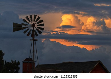 Texas skies with windmill and thunderstorm