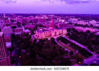 Texas State Capital building aerial drone view in Austin , Texas , USA