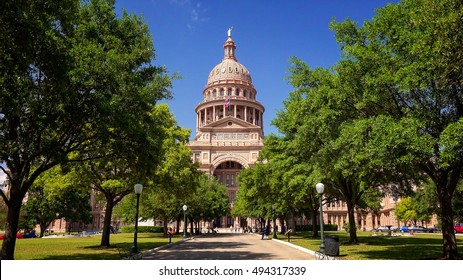 Texas State Capitol building in Austin during spring