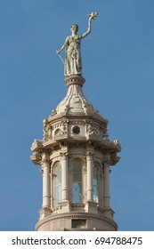 the Texas State Capitol Goddess of LIberty atop the dome