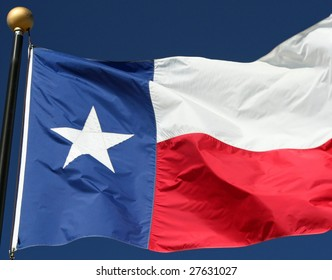 Texas state flag blowing in a strong wind.