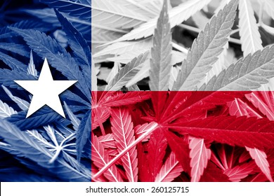 Texas State Flag on cannabis background. Drug policy. Legalization of marijuana