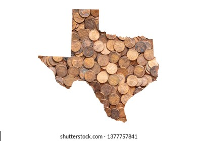 Texas State Map and Money, Piles of Coins, Pennies