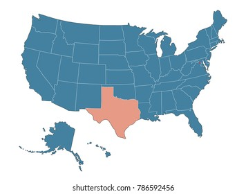 Texas state - Map of USA