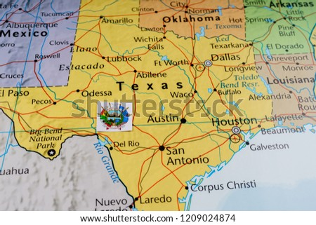 The Map Of Texas State.Texas State On Map Stock Photo Edit Now 1209024874 Shutterstock
