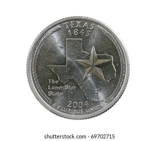 Texas state quarter coin isolated on white background
