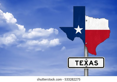 Texas state - road sign map