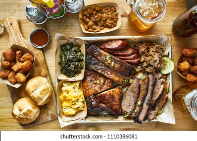 texas style bbq meal with all the fixings
