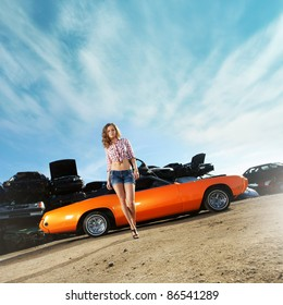 Texas style image with a sexy girl and classic american car