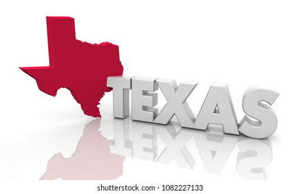 Texas TX Red State Map Word 3d Illustration