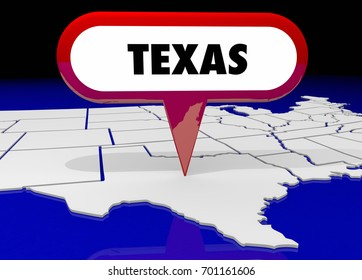 Texas TX State Map Pin Location Destination 3d Illustration