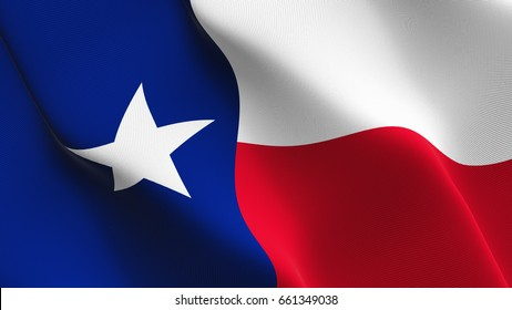 Texas US State flag waving on wind. United States of America Texas flag blowing in the wind with highly detailed fabric texture. Realistic rendering quality.