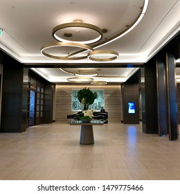 Texas, USA - August 15, 2019 - Beautiful ceiling and lights fixtures at the lobby of Omni Frisco Hotel