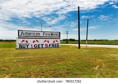 Texas, USA - June 9, 2014: An american fireworks add and store along a country road in rural Texas, USA.