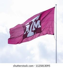 Texas, USA, September 16 2017: Texas A&M University flag waving against sky.