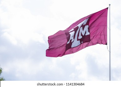Texas, USA, September 16 2017: Flag with Texas A&M University logo waving against sky.
