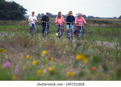 Texel, the Netherlands - 3 September 2019: cyclists on Texel, the Netherlands