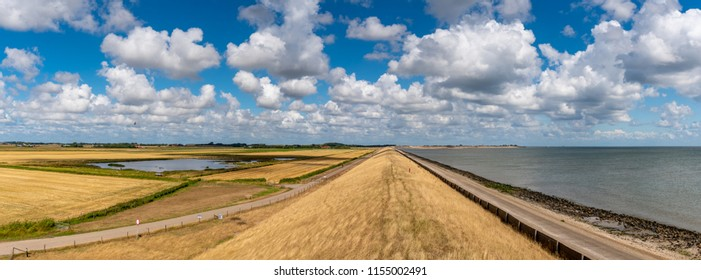 Texel, the Netherlands. Dyke vegetation suffer after period of extreme drought. Flood control in the Netherlands. De Rede near Oudeschild. Typical polder landscape with 'Dutch' clouds and Wadden Sea.