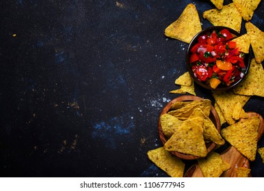 Tex-Mex Concept, Salsa Sauce, Tomatoes, Nachos and Lime, Food Background, Top View