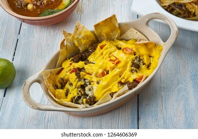 Tex-Mex Cowboy Casserole ,  ground beef casserole is easy to make and tastes amazing, Tex-Mex  cuisine, Traditional assorted dishes, Top view.