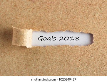 The text 2018 goals appearing behind torn brown paper.