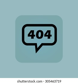 Text 404 in chat bubble, in square, on pale blue background