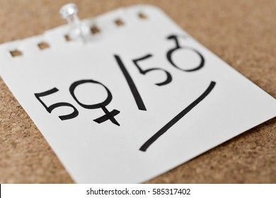 text 50/50 written in a piece of paper, with the zeros as the female and the male gender symbols, depicting the gender parity concept