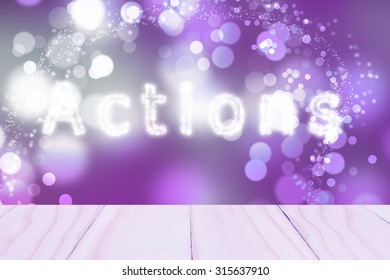 Text  Actions Purple bokeh blurred beautiful from my idea.
